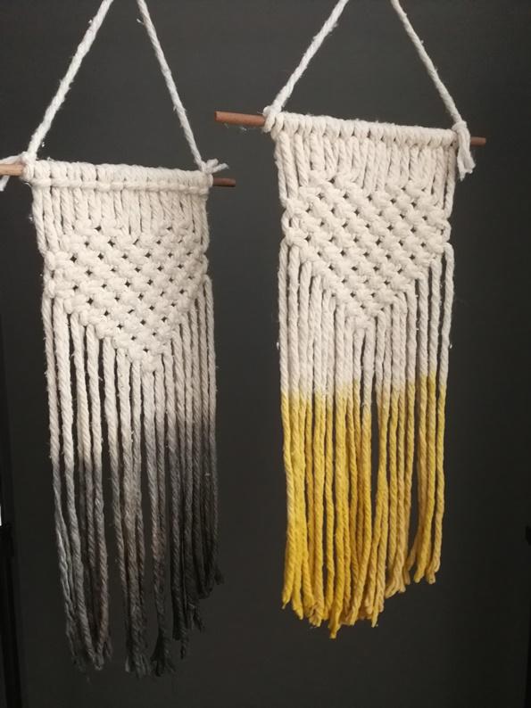 macrame wool wallhangers