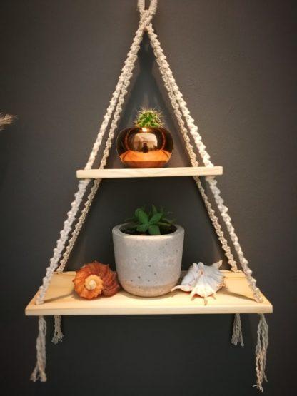 natural double macrame shelf