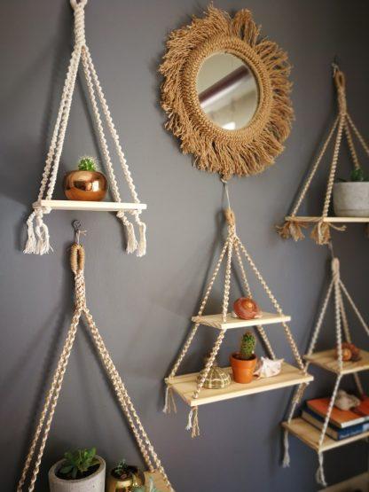 jute and natural macrame shelves